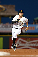 Bradenton Marauders shortstop JaCoby Jones (10) running the bases during a game against the Jupiter Hammerheads on April 17, 2015 at McKechnie Field in Bradenton, Florida.  Bradenton defeated Jupiter 11-6.  (Mike Janes/Four Seam Images)