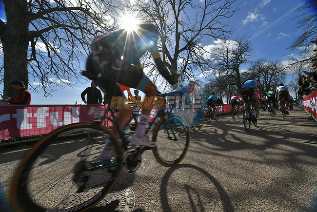 Alexey Lutsenko (KAZ) Astana Pro Team at sign on in Fortezza Medicea before the start of Strade Bianche 2019 running 184km from Siena to Siena, held over the white gravel roads of Tuscany, Italy. 9th March 2019.<br /> Picture: LaPresse/Gian Matteo D'Alberto | Cyclefile<br /> <br /> <br /> All photos usage must carry mandatory copyright credit (© Cyclefile | LaPresse/Gian Matteo D'Alberto)