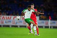 Cyrus Christie of Republic of Ireland vies for possession with Ben Davies of Wales during the UEFA Nations League B match between Wales and Ireland at Cardiff City Stadium in Cardiff, Wales, UK.September 6, 2018