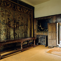 A fine tapestry hangs along one wall of the oak-panelled anteroom to the State Bedroom