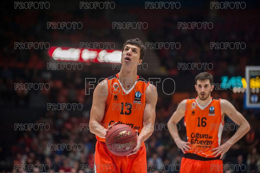 VALENCIA, SPAIN - December 2: Vladimir Lucic during EUROCUP match between Valencia Basket Club and Ratiopharm ULM at Fonteta Stadium on December 2, 2015