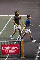 Rotterdam, The Netherlands, 4 march  2021, ABNAMRO World Tennis Tournament, Ahoy, First round doubles: Petros Tsitsipas (GRE) / Stefanos Tsitsipas (GRE).<br /> Photo: www.tennisimages.com/henkkoster