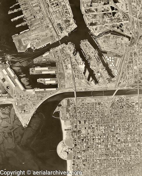 historical aerial photograph Long Beach, California, 1963