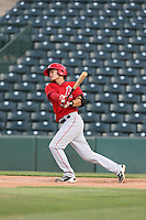 Angel Alamo (6) of the AZL Angels bats during a game against the AZL Giants at Tempe Diablo Stadium on July 6, 2015 in Tempe, Arizona. Angels defeated the Giants, 3-1. (Larry Goren/Four Seam Images)