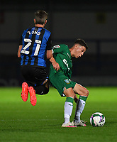Sheffield Wednesday's Alex Hunt is tackled by Rochdale's Matthew Lund<br /> <br /> Photographer Dave Howarth/CameraSport<br /> <br /> Carabao Cup Second Round Northern Section - Rochdale v Sheffield Wednesday - Tuesday 15th September 2020 - Spotland Stadium - Rochdale<br />  <br /> World Copyright © 2020 CameraSport. All rights reserved. 43 Linden Ave. Countesthorpe. Leicester. England. LE8 5PG - Tel: +44 (0) 116 277 4147 - admin@camerasport.com - www.camerasport.com