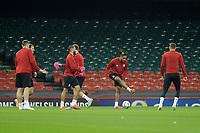 Ashley Williams (centre) of Wales during the Wales Training Session at The Principality Stadium in Cardiff, Wales, UK. Wednesday 10 October 2018