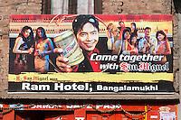 Nepal, Patan.  Advertisement Showing Young Modern Millenial Nepalese Generation.