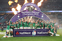 Ireland celebrate winning the Triple Crown and Grand Slam at the conclusion of the NatWest 6 Nations match between England and Ireland at Twickenham Stadium on Saturday 17th March 2018 (Photo by Rob Munro/Stewart Communications)