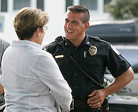Chief Timothy Longo spoke with residents before participating in the Building of Hope walk where community members walked from Blue Ridge Commons apartments down Prospect and Orangedale Avenues in an effort to show they care about their community Tuesday evening. The event was sponsored by the Charlottesville Police Department.