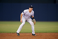 Tampa Yankees third baseman Kyle Holder (12) during a game against the Fort Myers Miracle on April 12, 2017 at George M. Steinbrenner Field in Tampa, Florida.  Tampa defeated Fort Myers 3-2.  (Mike Janes/Four Seam Images)