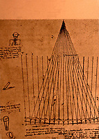 Visual Arts:  Leonardo Drawing--Paths of light rays in parabolic mirror for telescope.  Photo '84.
