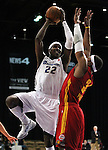 Reno Bighorn's Mo Charlo makes a play against Fort Wayne Mad Ants' Marvin Phillips in Friday night's minor league basketball game, Feb. 11, 2011, at the Reno Events Center in Reno, Nev. .Photo by Cathleen Allison