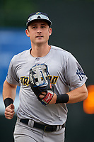 Trenton Thunder right fielder Zack Zehner (63) jogs off the field during the first game of a doubleheader against the Bowie Baysox on June 13, 2018 at Prince George's Stadium in Bowie, Maryland.  Trenton defeated Bowie 4-3.  (Mike Janes/Four Seam Images)