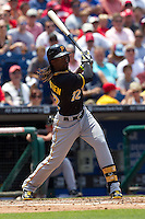 Pittsburgh Pirates  outfielder Andrew McCutchen #22 swings during the Major League Baseball game against the Philadelphia Phillies on June 28, 2012 at Citizens Bank Park in Philadelphia, Pennsylvania. The Pirates defeated the Phillies 5-4. (Andrew Woolley/Four Seam Images)..