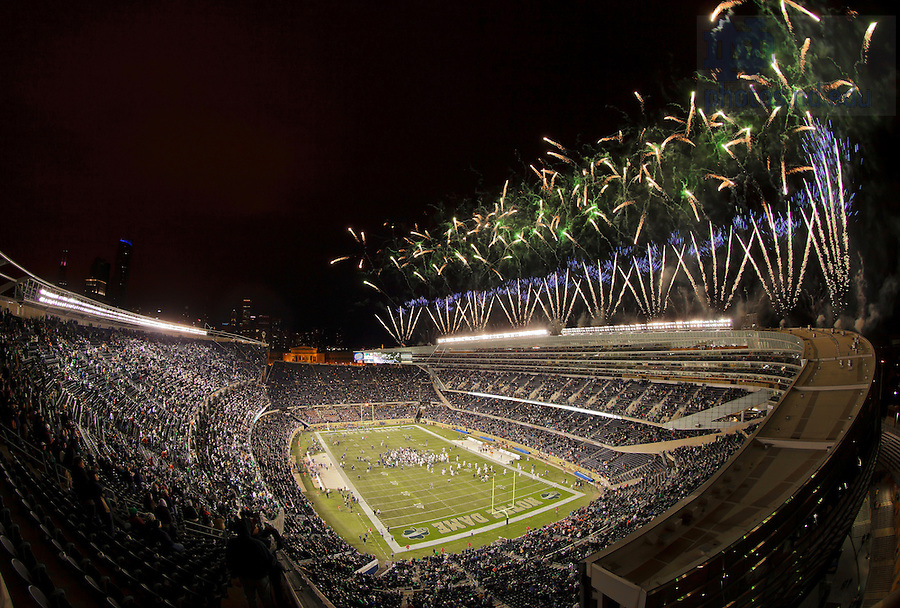 Oct. 6, 2012; Fireworks explode over Soldier Field after Notre Dame beat the Miami Hurricanes 41-3 in the Shamrock Series game.<br /> <br /> Photo by Matt Cashore/University of Notre Dame