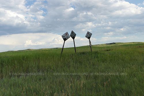Rapid City, South Dakota<br /> July 25, 2011<br /> <br /> State sponsered warning signs about the consequences of drunk driving mark a fatal road accident outside of Rapid City.