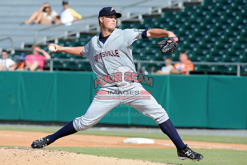 Huntsville Stars starting pitcher Jimmy Nelson #40 delivers a pitch during a game against the Tennessee Smokies at Smokies Park on August 12, 2012 in Kodak, Tennessee. The Smokies defeated the Stars 4-0. (Tony Farlow/Four Seam Images).