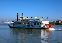 The riverboat the Creole Queen underway. New Orleans, Louisiana.