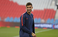 TORONTO, ON - OCTOBER 15: Matt Miazga #3 of the United States chats with a teammate prior to the start of the match during a game between Canada and USMNT at BMO Field on October 15, 2019 in Toronto, Canada.
