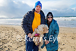 Enjoying a stroll in Banna beach on Sunday, l to r: Jo Jo Lyons and Michael Walsh with Nala the dog