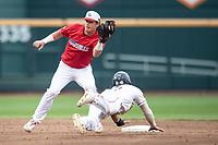 Louisville Cardinals shortstop Tyler Fitzgerald (2) makes a catch at second during Game 7 of the NCAA College World Series against the Auburn Tigers on June 18, 2019 at TD Ameritrade Park in Omaha, Nebraska. Louisville defeated Auburn 5-3. (Andrew Woolley/Four Seam Images)