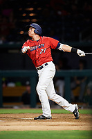Jacksonville Jumbo Shrimp left fielder Peter O'Brien (27) hits a home run in the bottom of the fourth inning during a game against the Biloxi Shuckers on June 8, 2018 at the Baseball Grounds of Jacksonville in Jacksonville, Florida.  Biloxi defeated Jacksonville 5-3.  (Mike Janes/Four Seam Images)