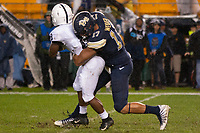Pitt defensive lineman Rashad Weaver (17) tackles Penn State running back Mark Allen (8).The Penn State Nittany Lions defeated the Pitt Panthers 51-6 on September 08, 2018 at Heinz Field in Pittsburgh, Pennsylvania.