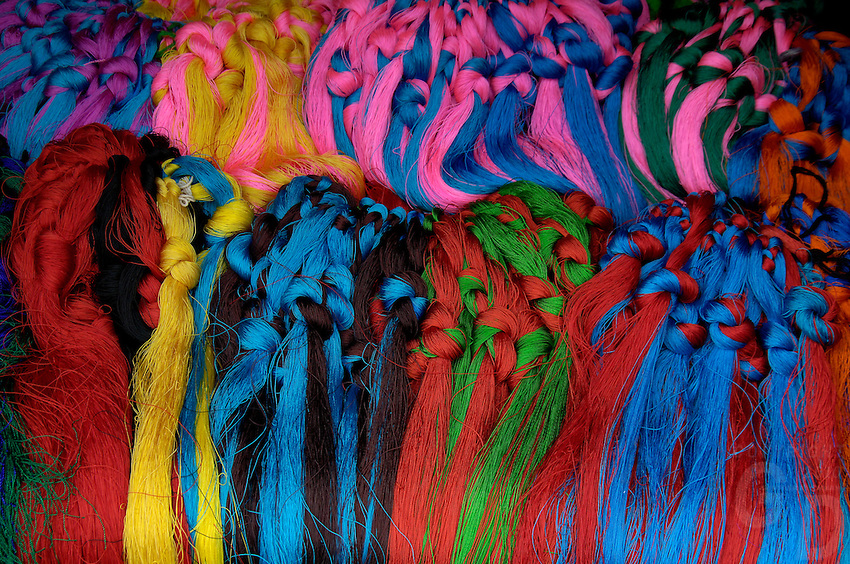 Colorful wool used for hair decoration selling at the market in Lhasa
