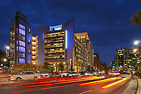 Discovery Communications' headquaters building in Silver Spring MD at dusk.