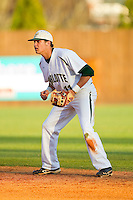 Charlotte 49ers second baseman Matt Creech (11) on defense against the Delaware State Hornets at Robert and Mariam Hayes Stadium on February 15, 2013 in Charlotte, North Carolina.  The 49ers defeated the Hornets 13-7.  (Brian Westerholt/Four Seam Images)