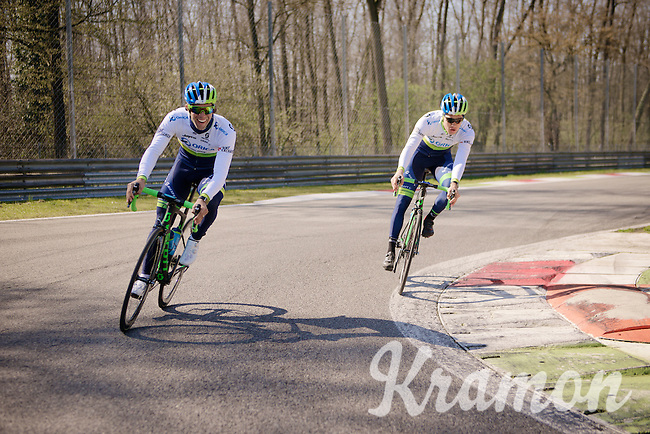 Michael Matthews (AUS/Orica-GreenEDGE) & Chris Juul-Jensen (DEN/Orica-GreenEDGE) having fun as 'F1-drivers'<br /> <br /> training/coffee ride with Team Orica-GreenEDGE at the Monza F1 Race Circuit 1 day before Milan-San Remo