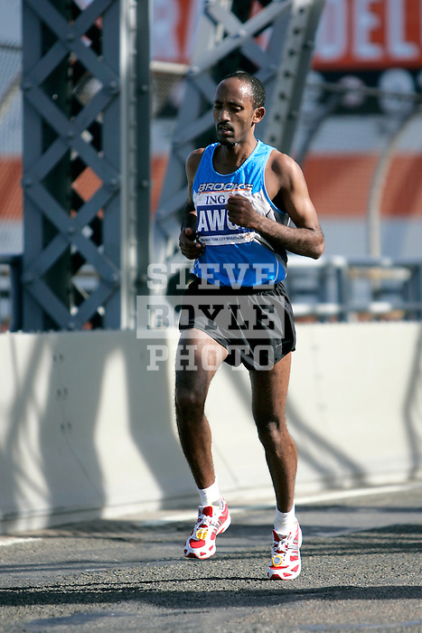 Mohammed Awol (KEN) during the 2008 ING New York City Marathon on the Madison Avenue Bridge connecting the Bronx to Manhattan on November 2, 2008 in New York City, New York.  The racers enter Manhattan for the final time as they approach mile 21 on the course.  Gomes Dos Santos (BRA) won the race with a time of 2:0843.