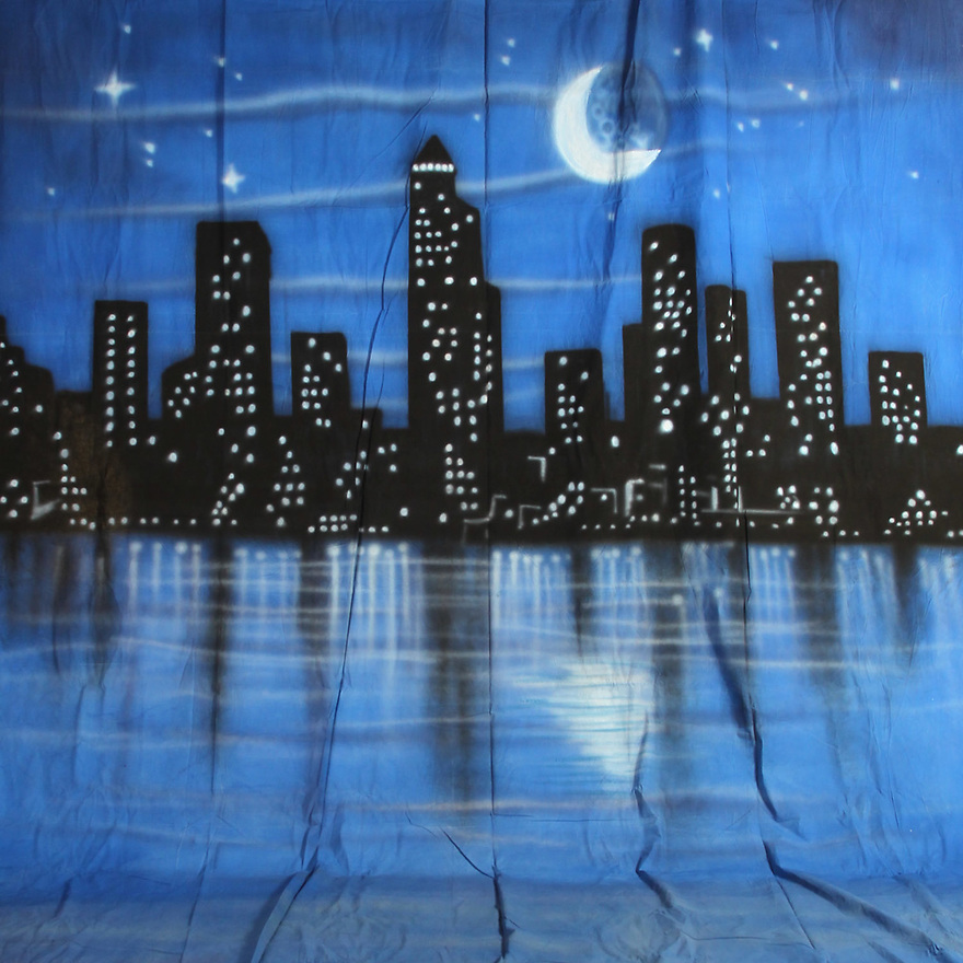 Backdrop featuring New York Manhattan skyline, city lights, city skyscrapers, stars and moon at night
