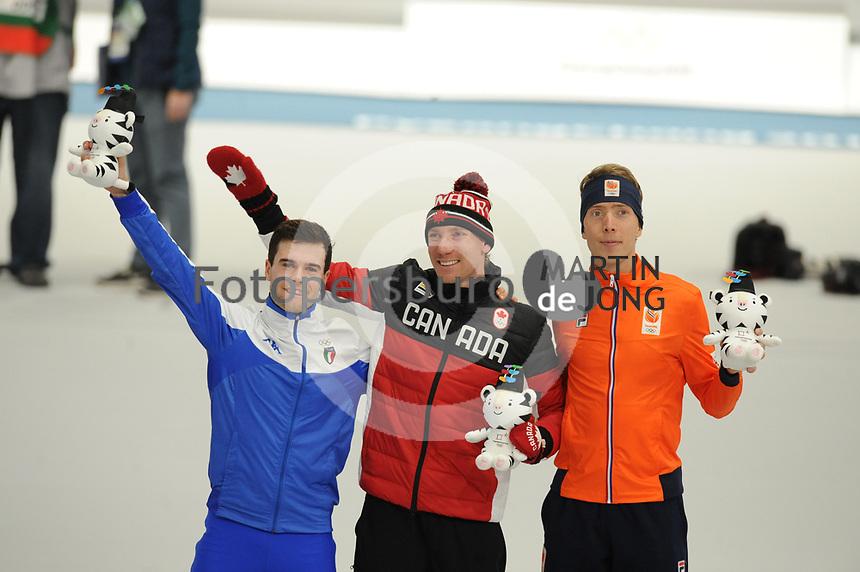 OLYMPIC GAMES: PYEONGCHANG: 15-02-2018, Gangneung Oval, Long Track, 10.000m Men, Final results, Nicola Tumolero (ITA), Ted-Jan Bloemen (CAN), Jorrit Bergsma (NED), ©photo Martin de Jong