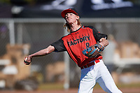 Gage McClain (8) of Mountain Home High School in Mountain Home, Arkansas during the Baseball Factory All-America Pre-Season Tournament, powered by Under Armour, on January 13, 2018 at Sloan Park Complex in Mesa, Arizona.  (Mike Janes/Four Seam Images)