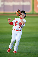 Peoria Chiefs right fielder Bryce Denton (33) settles under a fly ball during a game against the West Michigan Whitecaps on May 9, 2017 at Dozer Park in Peoria, Illinois.  Peoria defeated West Michigan 3-1.  (Mike Janes/Four Seam Images)
