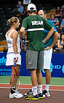 Bob Bryan and Tetiana Luzhanska consult with coach Brent Haygarth at the Freedoms vs. Explorers WTT match in Villanova, PA on July 16, 2012