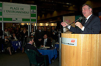 Montreal, march 28 , 2001 File Photo<br />  Montreal Mayor ;Pierre Bourque at the opening of Americana 2001 conference and trade show on environmental technologies and waste management march 28, 2001 in Montreal, CANADA.<br /> <br /> Bourque is currentlyrunning for reelection against former Quebec Minister Gerald Tremblay<br /> <br /> Photo by Pierre Roussel / Alpha-Presse<br /> NOTE :  D-1 Uncorrected JPEG opened with QUIMAGE profile, saved in Adobe 1998 RGB color spaceMontreal (Qc) CANADA - File Photo -