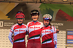 Belarus team at sign on for the start of the Women Elite Road Race of the UCI World Championships 2019 running 149.4km from Bradford to Harrogate, England. 28th September 2019.<br /> Picture: Eoin Clarke | Cyclefile<br /> <br /> All photos usage must carry mandatory copyright credit (© Cyclefile | Eoin Clarke)