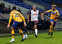 Bolton Wanderers' Alex John-Baptiste competing with Mansfield Town's Stephen McLaughlin (left) <br /> <br /> Photographer Andrew Kearns/CameraSport<br /> <br /> The EFL Sky Bet League Two - Bolton Wanderers v Mansfield Town - Tuesday 3rd November 2020 - University of Bolton Stadium - Bolton<br /> <br /> World Copyright © 2020 CameraSport. All rights reserved. 43 Linden Ave. Countesthorpe. Leicester. England. LE8 5PG - Tel: +44 (0) 116 277 4147 - admin@camerasport.com - www.camerasport.com