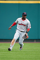 Pawtucket Red Sox outfielder Rusney Castillo (31) fields a base hit during a game against the Rochester Red Wings on July 1, 2015 at Frontier Field in Rochester, New York.  Rochester defeated Pawtucket 8-4.  (Mike Janes/Four Seam Images)