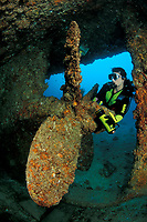 Scuba diver exploring the propeller of the Salvatierra wreck, Sea of Cortez, Baja California, Mexico, East Pacific Ocean