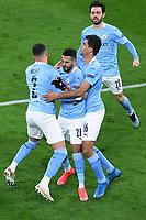 14th April 2021; Induna Park, Dortmund, Germany; UEFA Champions League Football quarter-final, Borussia Dortmund versus Manchester City; Man City goal celebrations for 1:1 from the penalty by Riyad Mahrez  Manchester