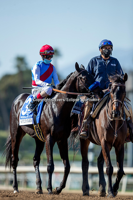 March 06, 2021: Medina Spirit with John Velazquez aboard at the San Felipe Stakes at Santa Anita Park in Arcadia, California on March 06, 2021. Evers/Eclipse Sportswire/CSM