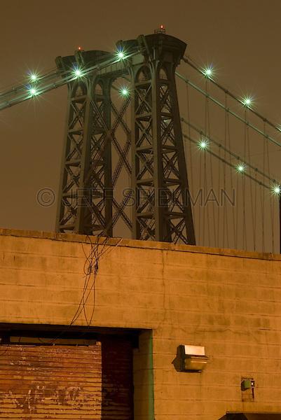 Williamsburg Bridge at Night and Industrial Building in the Williamsburg Neighborhood of Brooklyn, New York City, New York City, USA