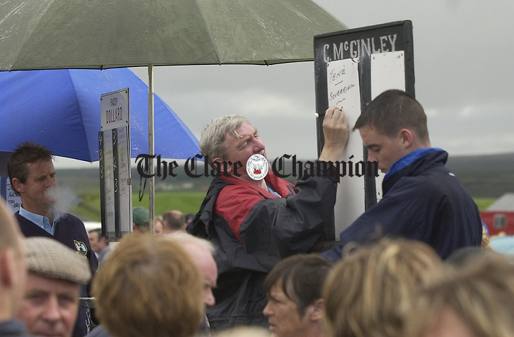 Bookie Colin Mc Ginley gets his board up at  the Lisdoonvarna races. Photograph by John Kelly.