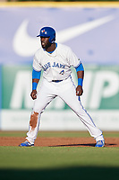 Dunedin Blue Jays center fielder Anthony Alford (43) leads off second base during a game against the Fort Myers Miracle on April 17, 2018 at Dunedin Stadium in Dunedin, Florida.  Dunedin defeated Fort Myers 5-2.  (Mike Janes/Four Seam Images)