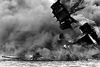 The USS ARIZONA burning after the Japanese attack on Pearl Harbor. December 7, 1941.  (Navy)<br /> NARA FILE #:  080-G-32420<br /> WAR & CONFLICT BOOK #:  1136