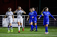 Charlotte Laridon (15) of Club Brugge scored but it was off-side and was cancelled during a female soccer game between  Racing Genk Ladies and Club Brugge YLA on the 10 th matchday of the 2020 - 2021 season of Belgian Scooore Womens Super League , friday 18 th of December 2020  in Genk , Belgium . PHOTO SPORTPIX.BE | SPP | STIJN AUDOOREN