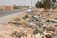 Bir al-Ghanem, south of Tripoli, Libya - Trash Alongside Libyan Roadways is Common